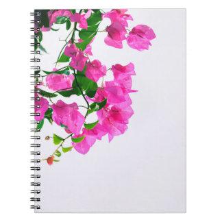 floral pink. close up spiral notebook