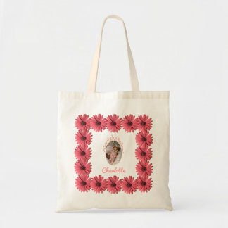 Floral Pink Coral Daisy | Create Your Own Mommy Tote Bag