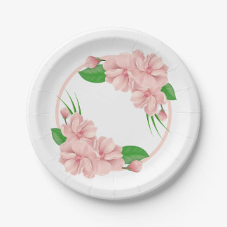 Floral Pink Flowers  Shabby Chic Wedding / Party 7 Inch Paper Plate