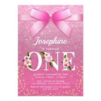 Floral Pink Glitter 1st Birthday Invitation