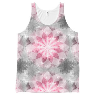 Floral Pink-gray Pattern All-Over Print Tank Top