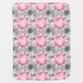 Floral Pink-gray Pattern Baby Blanket