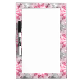 Floral Pink-gray Pattern Dry Erase Board