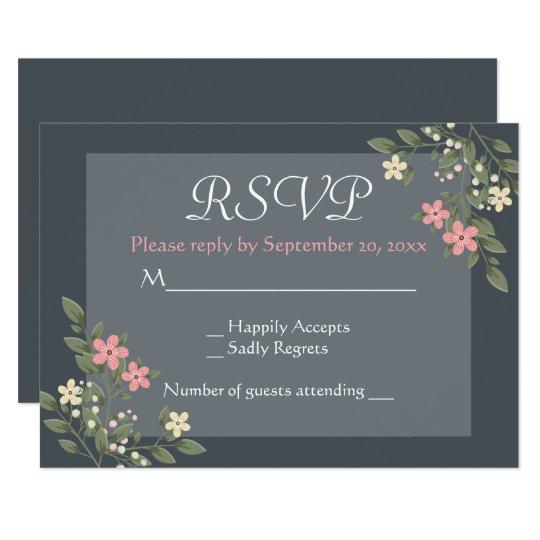 Floral Pink & Grey RSVP Flowers Wedding Card