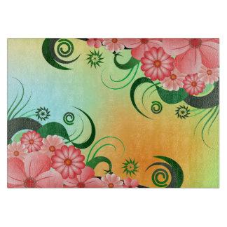 Floral Pink Hibiscus Custom Glass Cutting Board