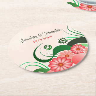 Floral Pink Hibiscus Round Wedding Paper Coasters