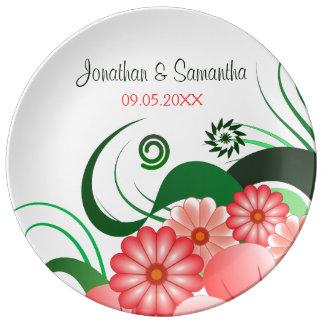 Floral Pink Hibiscus Wedding 10.75 Porcelain Plate