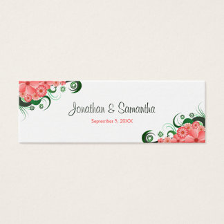 Floral Pink Hibiscus Wedding Favour Favor Tags Mini Business Card