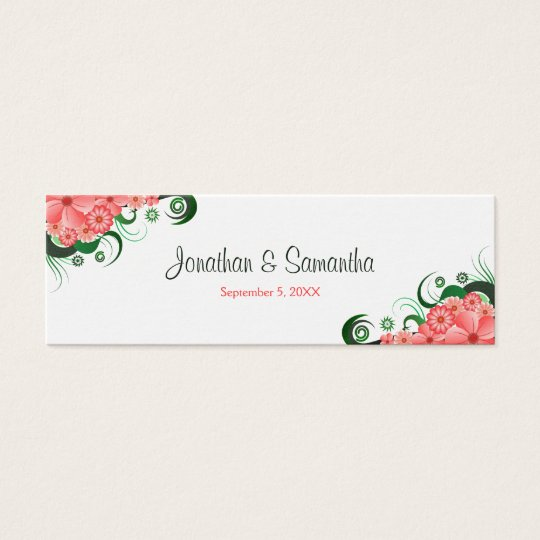 Floral Pink Hibiscus Wedding Favour Favour Tags Mini