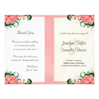 Floral Pink Hibiscus Wedding Program Templates 21.5 Cm X 28 Cm Flyer