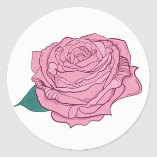 Floral Pink Lavender Rose Flower Classic Round Sticker