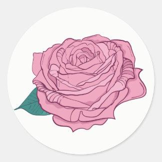 Floral Pink Lavender Rose Flower Round Sticker
