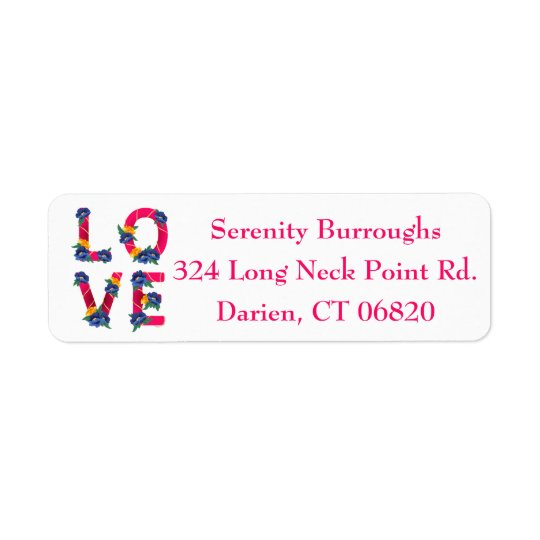 Floral Pink Love Blue & Yellow Flowers Return Address Label