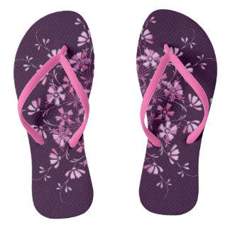 Floral pink mandala. flip flops