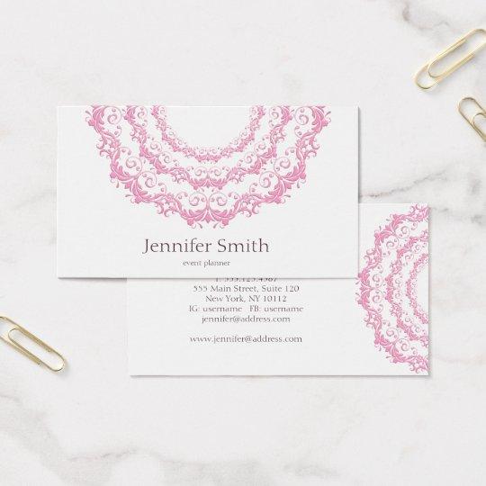 Floral pink mandala. Name. Business Card