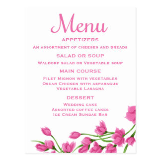 Floral Pink Menu Card Fuchsia & White Flowers Postcard