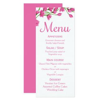 Floral Pink Menu Fuchsia Flower Wedding / Party 10 Cm X 24 Cm Invitation Card