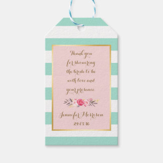 Floral Pink Mint Stripes Bridal Shower Thank You