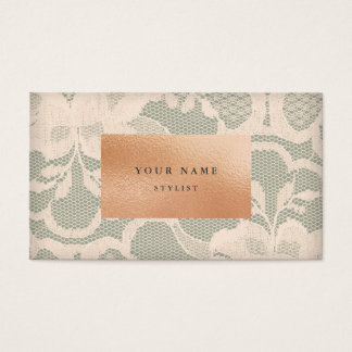 Floral Pink Peach Glass Gold Green Lace Business Card