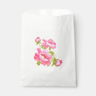 Floral Pink Peony Flower Wedding Peonies Party Favour Bags