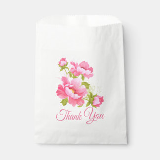 Floral Pink Peony Flower Wedding Thank You Peonies Favour Bags