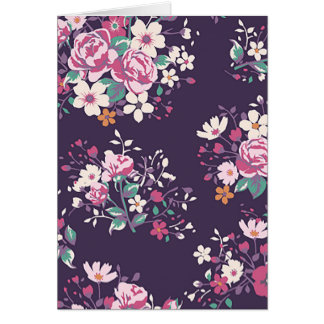 Floral Pink Rose And Daisy Flower Purple Notecard