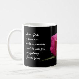 Floral Pink Rose, Dear God....Thank you for... Basic White Mug