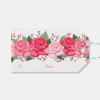 Floral Pink Rose Flowers Gift Tags