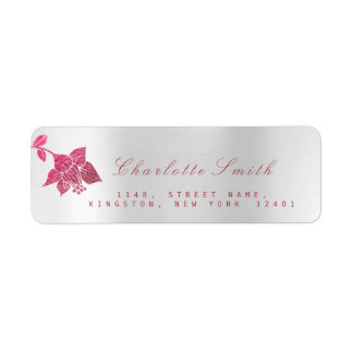 Floral Pink Rose Lily Silver Pearly Return Address