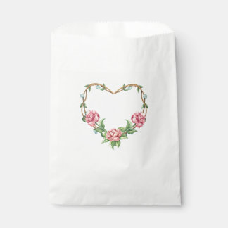 Floral Pink Rose Watercolor Flower Heart Favour Bags