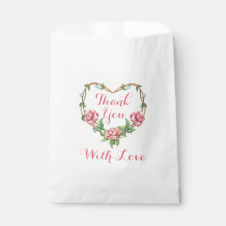 Floral Pink Rose Watercolor Thank You Flower Heart Favour Bags