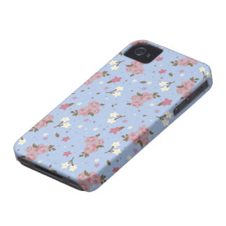 Floral Pink Roses on baby blue iPhone 4 Cover