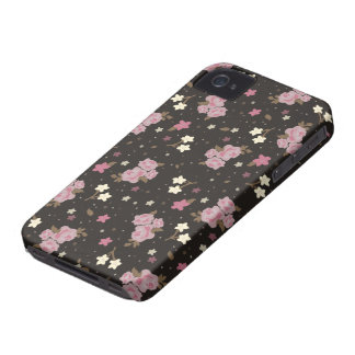 Floral Pink Roses on dark brown Case-Mate iPhone 4 Case