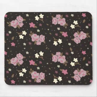 Floral Pink Roses on dark brown Mouse Mat