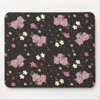 Floral Pink Roses on dark brown Mousepad