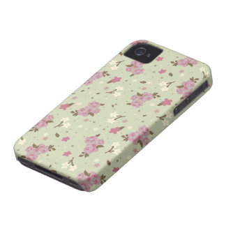 Floral Pink Roses on pastel green iPhone 4 Case