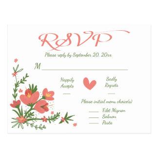 Floral Pink RSVP Coral & Green Flower Postcard