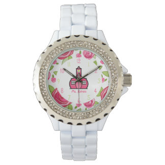 Floral & Pink Schoolhouse Teacher Watch