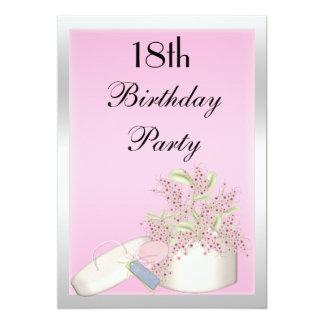 Floral Pink & Silver 18th Birthday 13 Cm X 18 Cm Invitation Card
