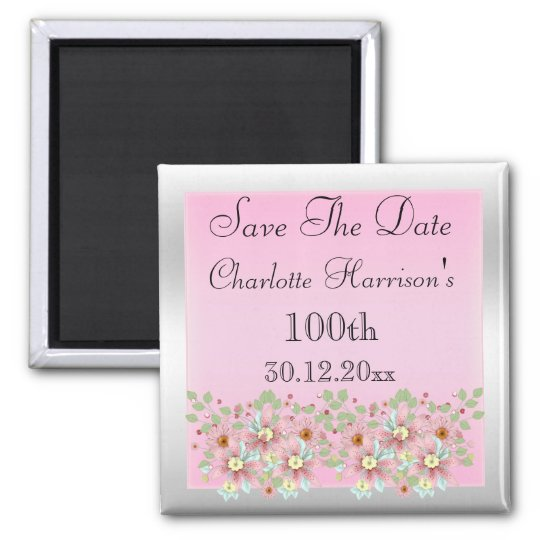 Floral Pink & Silver Save The Date 100th