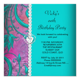 Floral Pink Teal Blue White Birthday Party 13 Cm X 13 Cm Square Invitation Card