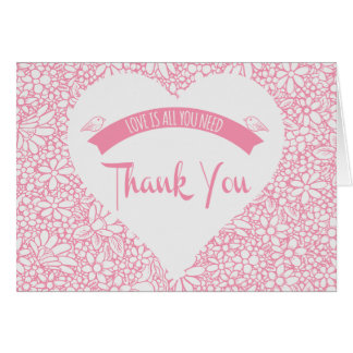 Floral Pink Thank You Heart Lovebirds Wedding Card