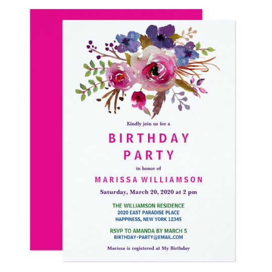 Floral Pink Watercolor Birthday Party Invitation