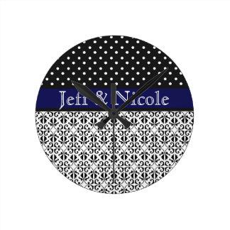 Floral & Polka Dots in Navy Blue Custom Wallclocks