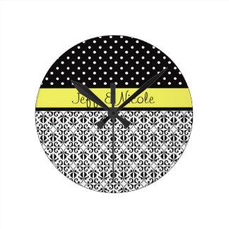 Floral & Polka Dots in Yellow Custom Round Wallclock