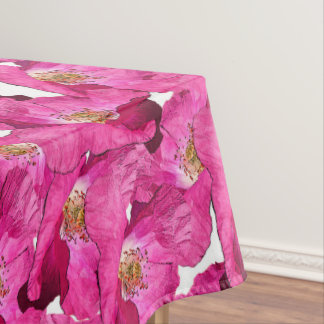 Floral poppies pink pattern. tablecloth