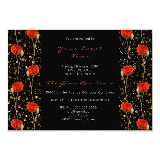 Floral Poppy Gold Confetti Black Delicate Glitter Card