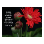 Floral Poster w/ Bible verse from Psalm 37:4
