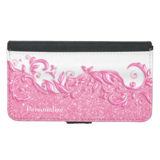 Floral Pretty Pink and White and Pink Glitter Samsung Galaxy S5 Wallet Case