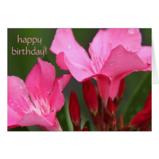 floral, pretty pink blooms birthday card